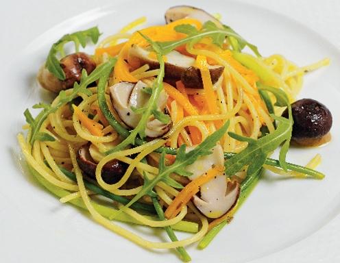 Спагетти с тыквой и грибами